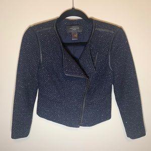 Ann Taylor Navy Tweed Blazer Black Leather Trim